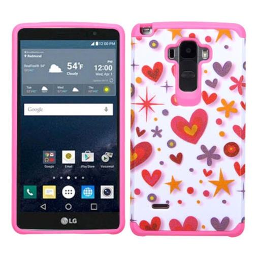 Insten Heart Graffiti Hard Dual Layer Silicone Case For LG G Stylo, White/Hot Pink