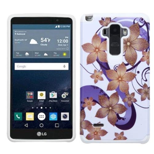Insten Hibiscus Flower Romance Hard Hybrid Rubber Silicone Cover Case For LG G Stylo, Purple/White