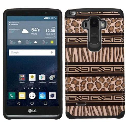 Insten Zebra Hard Dual Layer Silicone Case For LG G Stylo, Brown/Black