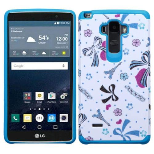 Insten Eiffel Tower Hard Hybrid Rubber Coated Silicone Cover Case For LG G Stylo, Blue/White