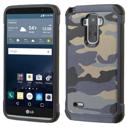 Insten Camouflage Hard Hybrid Rubber Silicone Case For LG G Stylo, Blue/Black
