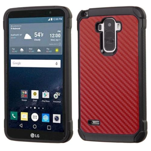 Insten Carbon Fiber Hard Dual Layer Rubber Coated Silicone Case For LG G Stylo, Red/Black