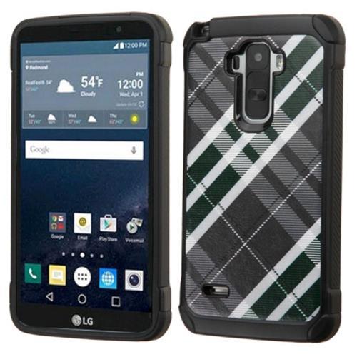 Insten Diagonal Plaid Hard Dual Layer Silicone Case For LG G Stylo, Gray/White