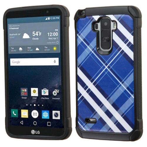 Insten Diagonal Plaid Hard Dual Layer Rubberized Silicone Case For LG G Stylo, Blue/White
