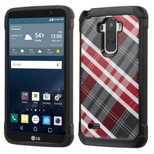 Insten Diagonal Plaid Hard Dual Layer Silicone Cover Case For LG G Stylo, Gray/Red