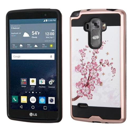 Insten Spring Flowers Hard Hybrid Rubber Coated Silicone Case For LG G Stylo/G Vista 2, Pink/White