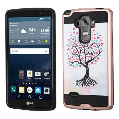 Insten Love Tree Hard Dual Layer Rubber Coated Silicone Case For LG G Stylo/G Vista 2, Pink/White