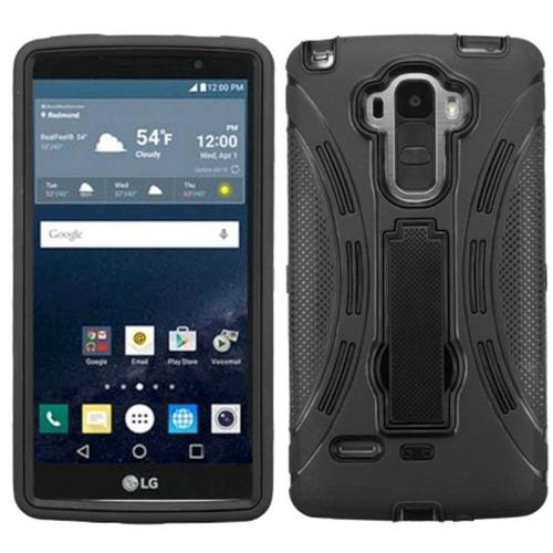 Insten Symbiosis Gel Dual Layer Rubber Hard Case w/stand For LG G Stylo, Black