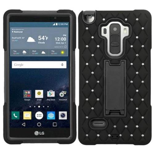 Insten Symbiosis Soft Dual Layer Rubber Hard Cover Case w/stand/Diamond For LG G Stylo, Black