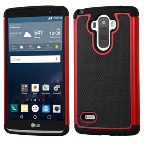 Insten Hard Hybrid Rubber Silicone Case For LG G Stylo, Black/Red