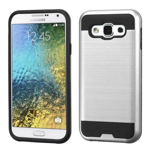 Insten Hard Hybrid Rubber Silicone Cover Case For Samsung Galaxy E5, Silver/Black