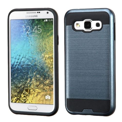 Insten Hard Hybrid Rubberized Silicone Cover Case For Samsung Galaxy E5, Blue/Black