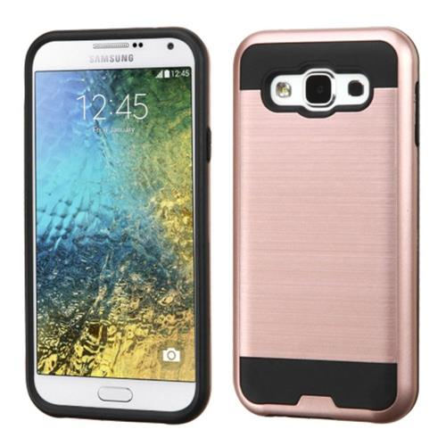 Insten Hard Dual Layer Rubberized Silicone Cover Case For Samsung Galaxy E5, Rose Gold/Black