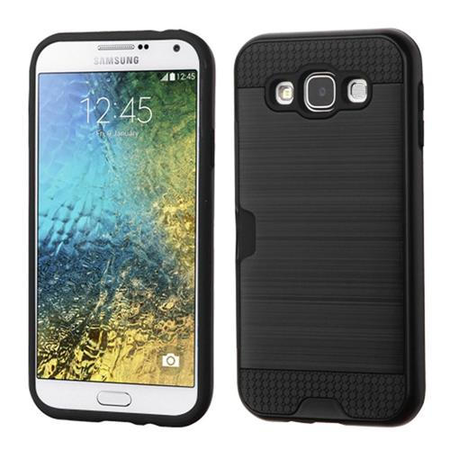 Insten Hard Dual Layer Rubber Silicone Case w/card slot For Samsung Galaxy E5, Black