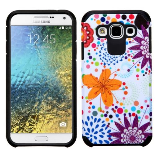 Insten Flower Buds Hard Dual Layer Rubberized Silicone Case For Samsung Galaxy E5, Purple/White