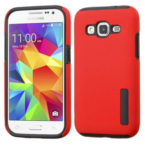 Insten Hard Hybrid Silicone Cover Case For Samsung Galaxy Core Prime, Red/Black
