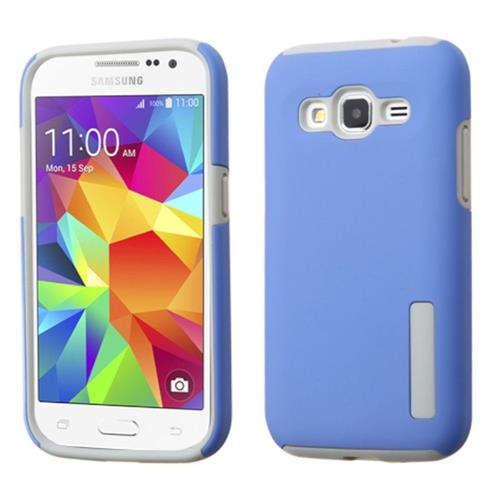 Insten Hard Hybrid Rubber Coated Silicone Case For Samsung Galaxy Core Prime, Blue/Gray