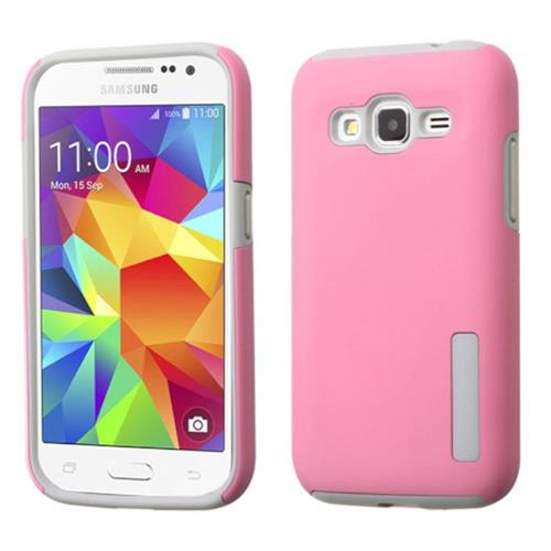 Insten Hard Hybrid Rubber Coated Silicone Case For Samsung Galaxy Core Prime, Pink/Gray