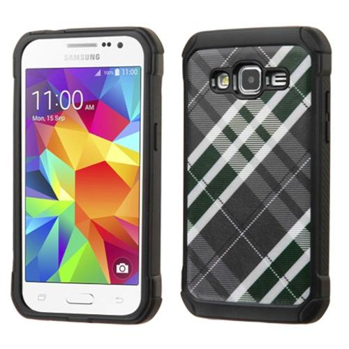 Insten Diagonal Plaid Hard Hybrid Rubber Silicone Case For Samsung Galaxy Core Prime, Gray/White