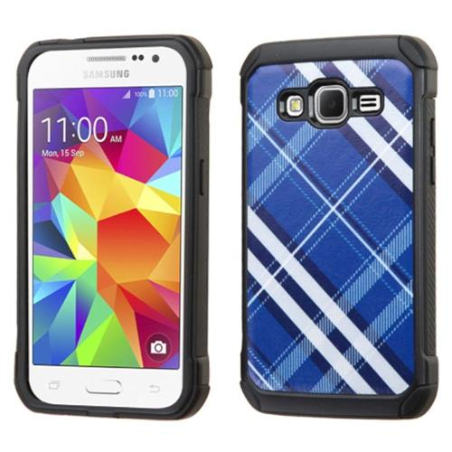 Insten Diagonal Plaid Hard Dual Layer Rubber Silicone Case For Samsung Galaxy Core Prime, Blue/White