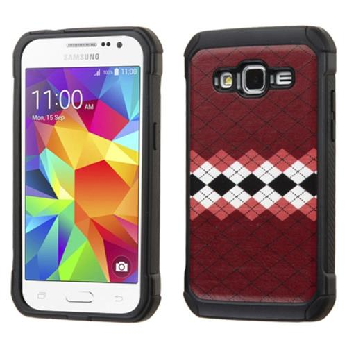 Insten Argyle Hard Hybrid Silicone Case For Samsung Galaxy Core Prime, Red/White