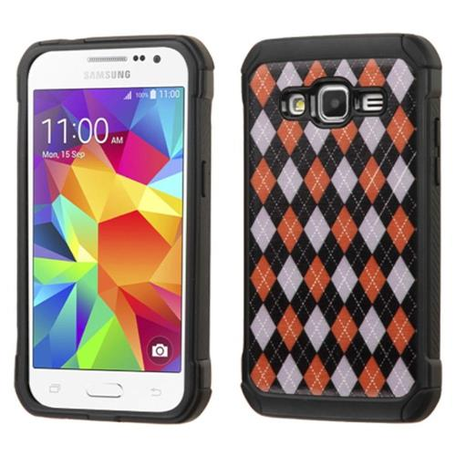 Insten Argyle Hard Hybrid Rubberized Silicone Cover Case For Samsung Galaxy Core Prime, Red/Black