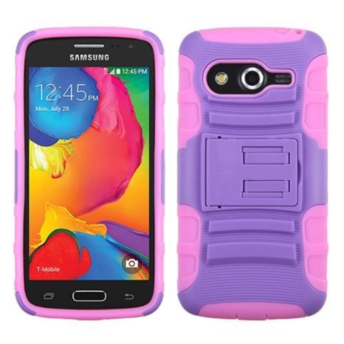 Insten Advanced Armor Hard Plastic Silicone Case w/stand For Samsung Galaxy Avant, Pink/Purple