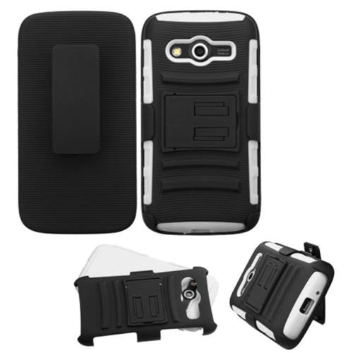 Insten Hard Dual Layer Plastic Silicone Cover Case w/Holster For Samsung Galaxy Avant, Black/White