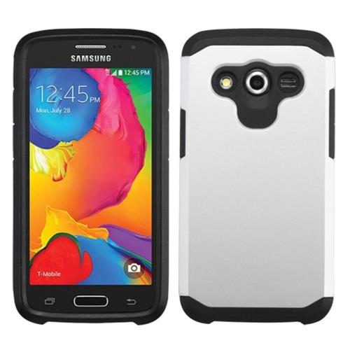 Insten Hard Hybrid Rubber Silicone Cover Case For Samsung Galaxy Avant, White/Black