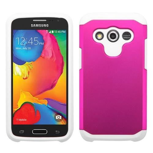 Insten Hard Hybrid Rubber Coated Silicone Cover Case For Samsung Galaxy Avant, Hot Pink/White