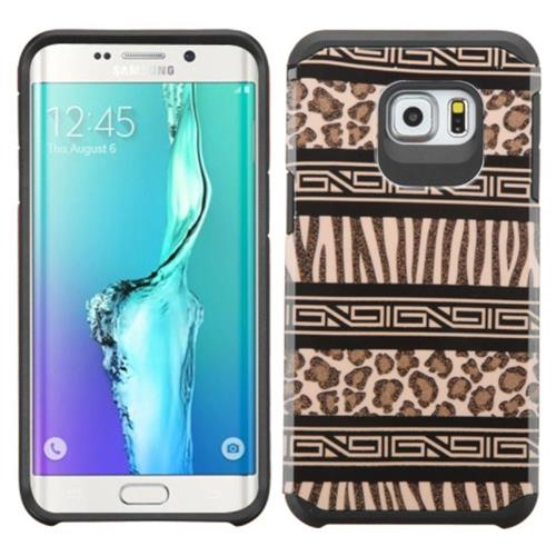 Insten Zebra Hard Hybrid Rubberized Silicone Cover Case For Samsung Galaxy S6 Edge Plus, Brown/Black