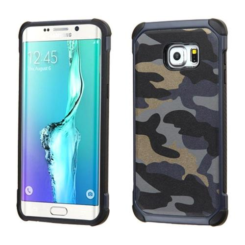 Insten Hard Dual Layer Rubberized Silicone Case For Samsung Galaxy S6 Edge Plus, Blue/Black