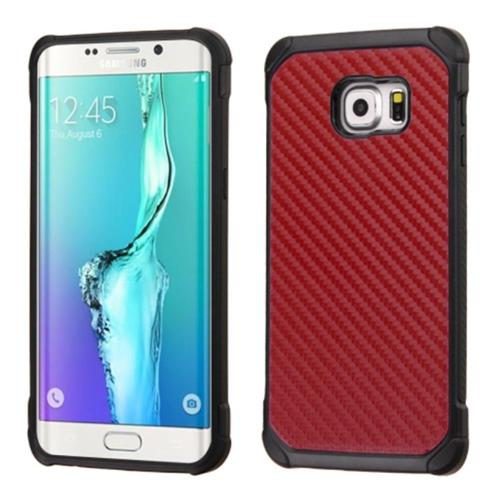 Insten Carbon Fiber Hard Hybrid Rubber Silicone Case For Samsung Galaxy S6 Edge Plus, Red/Black