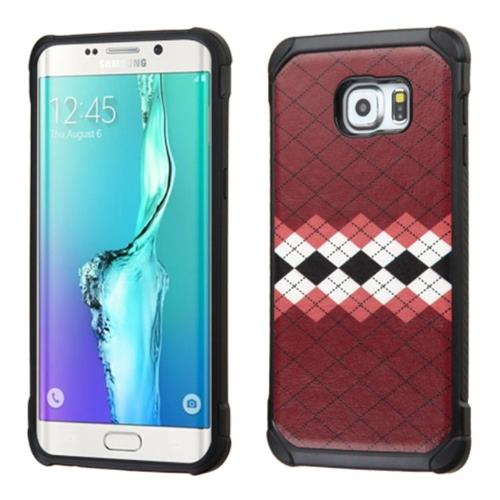 Insten Argyle Hard Hybrid Rubberized Silicone Case For Samsung Galaxy S6 Edge Plus, Brown/Black