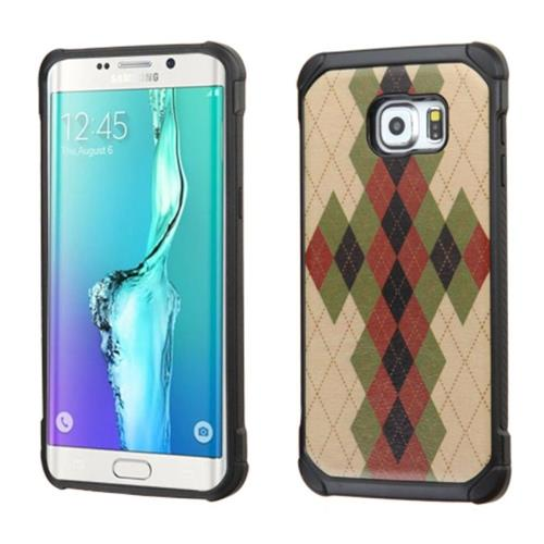 Insten Argyle Hard Dual Layer Silicone Case For Samsung Galaxy S6 Edge Plus, Green/Black