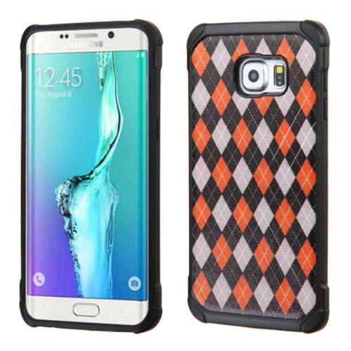 Insten Argyle Hard Dual Layer Rubberized Silicone Case For Samsung Galaxy S6 Edge Plus, Red/Black