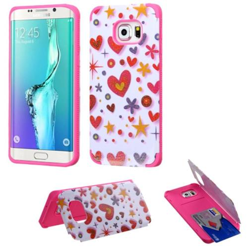 Insten Heart Graffiti Hard Rubberized Case For Samsung Galaxy S6 Edge Plus, Hot Pink/White