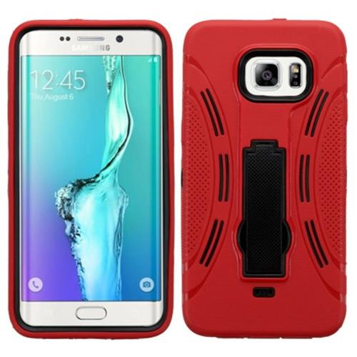 Insten Symbiosis Skin Dual Layer Rubber Hard Case w/stand For Samsung Galaxy S6 Edge Plus, Red/Black