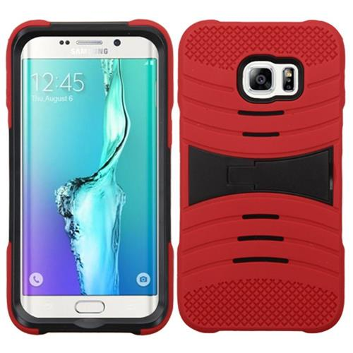 Insten Wave Symbiosis Hybrid Rubber Hard Case w/stand For Samsung Galaxy S6 Edge Plus, Red/Black