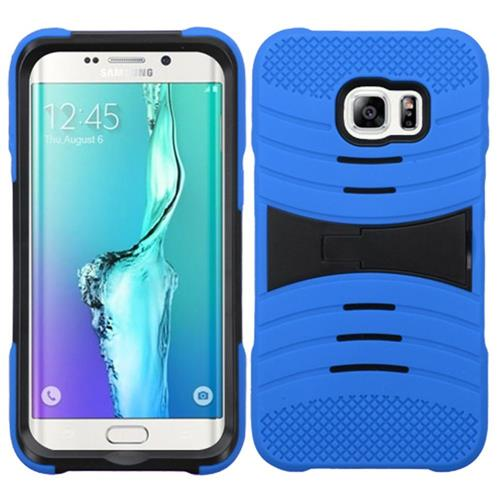 Insten Wave Symbiosis Rubber Hard Case w/stand For Samsung Galaxy S6 Edge Plus, Blue/Black