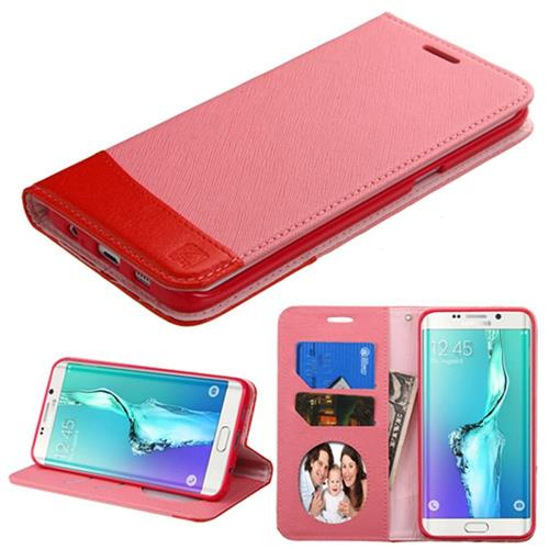 Insten Flip Leather Case w/stand/card holder/Photo Display For Samsung Galaxy S6 Edge Plus, Pink/Red