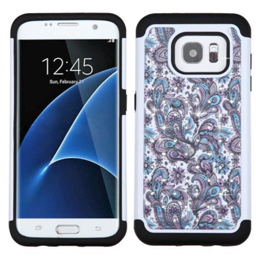 Insten European Flowers Hard Hybrid Silicone Case w/Diamond For Samsung Galaxy S7 Edge, Purple/White
