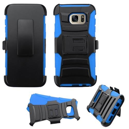 Insten Hard Dual Layer Plastic Silicone Case w/Holster For Samsung Galaxy S7 Edge, Black/Blue