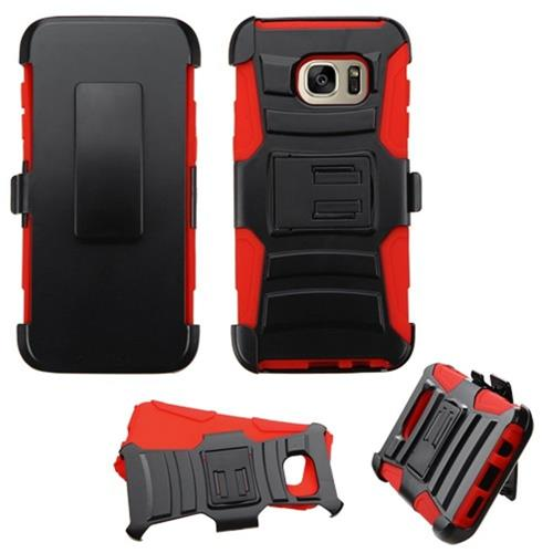 Insten Hard Dual Layer Plastic Silicone Cover Case w/Holster For Samsung Galaxy S7 Edge, Black/Red