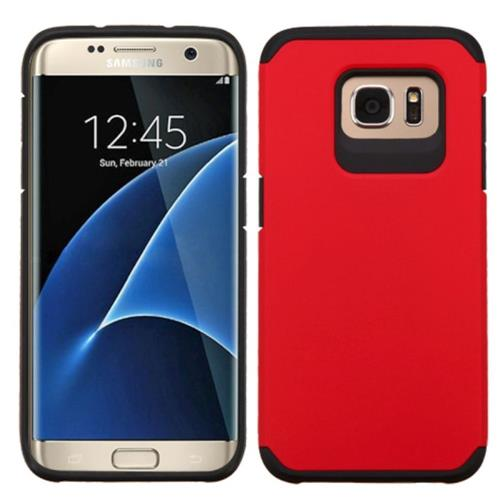 Insten Hard Hybrid Rubber Coated Silicone Cover Case For Samsung Galaxy S7 Edge, Red/Black