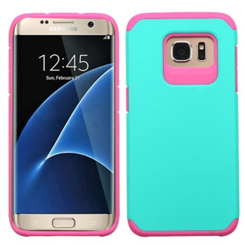 Insten Hard Dual Layer Rubber Silicone Case For Samsung Galaxy S7 Edge, Teal/Hot Pink