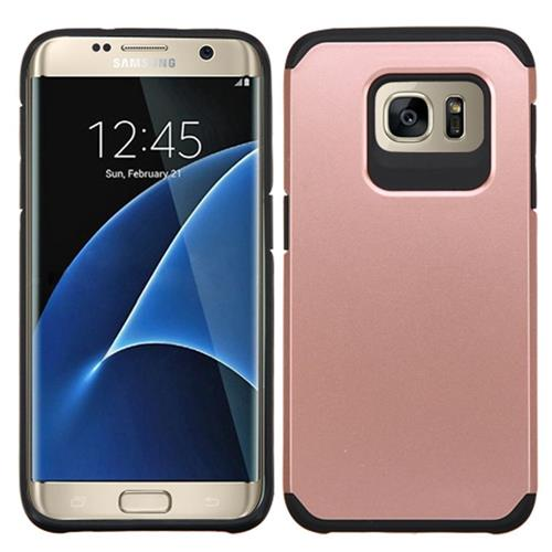 Insten Hard Hybrid Rubber Coated Silicone Case For Samsung Galaxy S7 Edge, Rose Gold/Black