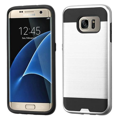 Insten Hard Dual Layer Rubber Coated Silicone Case For Samsung Galaxy S7 Edge, Silver/Black