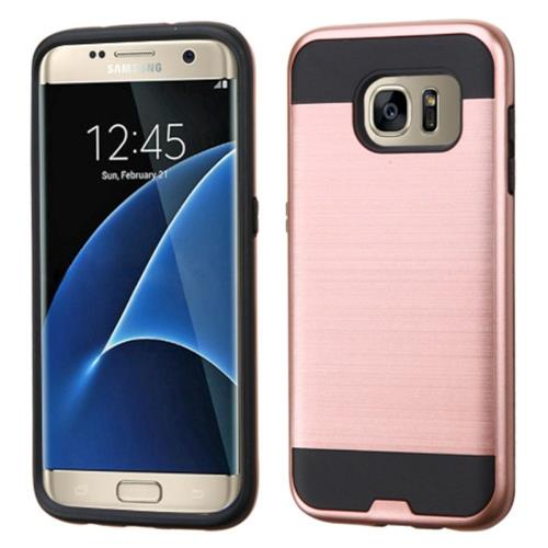 Insten Hard Dual Layer Rubber Coated Silicone Cover Case For Samsung Galaxy S7 Edge, Rose Gold/Black