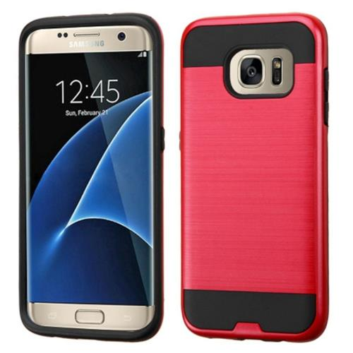 Insten Hard Hybrid Rubber Silicone Case For Samsung Galaxy S7 Edge, Red/Black